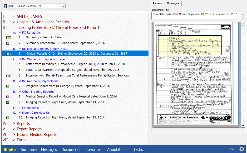Binder Index - Medical Brief