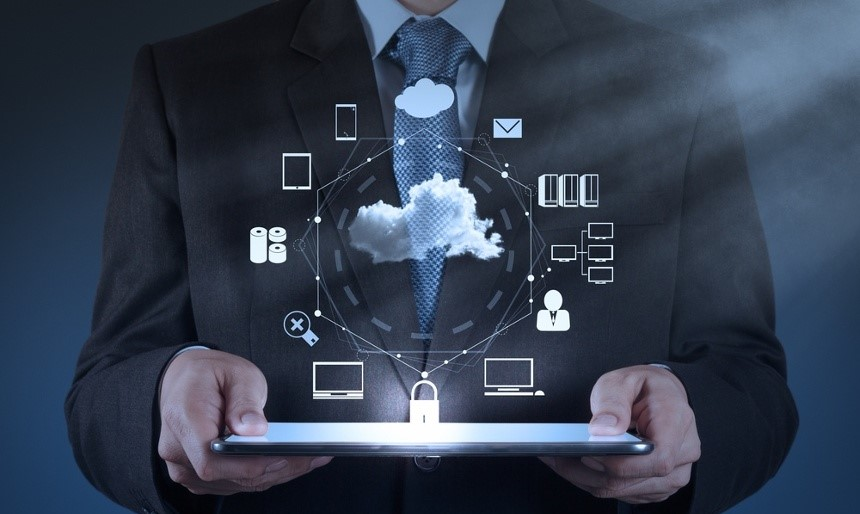 Businessman hand working with a Cloud Computing diagram on the new computer interface as concept-1