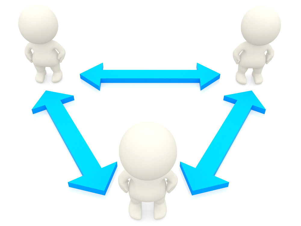 3D people networking isolated over a white background